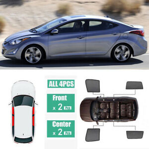4pcs Side Window Magnetic Sun Shade UV Ray Blocking Mesh For Hyundai Elantra 12+