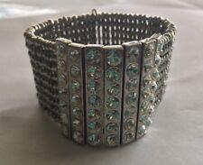 Philippe Audibert Stretch Silvertone Bracelet w/ Rhinestone Panels Made In Paris