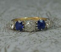 Victorian 1.2ct Old Cut Diamond & Sapphire 18ct Gold Five Stone Stack Ring d0258