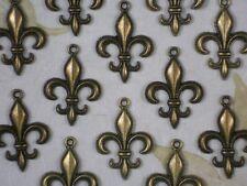 12 Fleur de Lis Charms Bronze Tone 30mm Fluer Beaded Edge Charm Pendants #P1109