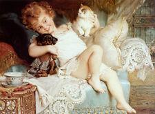 "CAVALIER KING CHARLES ENGLISH TOY SPANIEL DOG FINE ART PRINT ""Playmates"" Kitten"