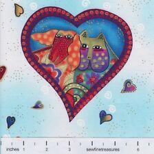 Fabulous Felines Laurel Burch HEART CAMEO LIGHT AQUA Cats Fabric By the 1/3 YD