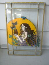 "BUTTERFLY WOMAN BUTTERFLIES HIPPIE  70'S STYLE 16.5""X11"" STAINED GLASS ART PIECE"