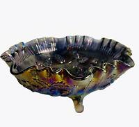"Vtg Lenox Imperial Carnival Glass Amethyst Rose Fernery Crimped 3 Toed Bowl 8""W"