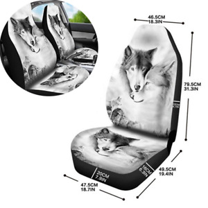 2Pcs 3D Animal Printing Wolf Pattern Seat Protector Cover Fit For Car Front Seat