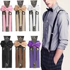 Mens Womens Clip-on Suspenders Elastic Adjustable Y-Back Braces With Bow Tie