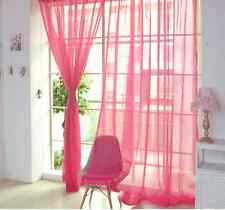 2 X Valances Tulle Voile Door Window Curtain Drape Panel Sheer Scarf Divider Rose 1 PC