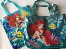 LOT of 2 Bags Ariel Flounder Swim Beach Bag Glitter Tote 12 x 16 Disney Store