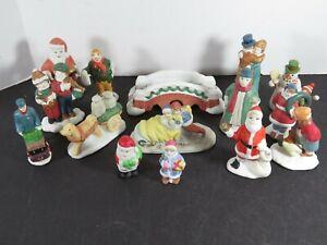 15 Vintage Christmas Ceramic Village House Accessories Figures Lot People A9986