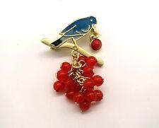 Brosche Strass Perlen Anstecknadel Button Anstecker Badge Vogel Beeren Bird Tier