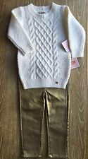 Juicy Couture Baby/ Girls Golden Jeans And White Wool Sweater Size 12/18 M