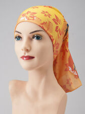(2) TWO CHEMO Scarves RUSTY Flower SNOOD Cancer Turban ORANGE YELLOW Tube Scarf