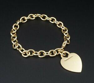 "Tiffany & Co 18k Yellow Gold Heart Tag Charm Bracelet 7.5"" $4400 Free Ship BG633"
