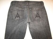 7 for all Mankind Womens A Pocket Jeans Bootcut Black w Black Crystals Sz 28