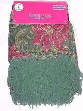 """Chenille Poinsettia Throw Green Fringe 50""""x60"""" Blanket New Burgundy Christmas"""