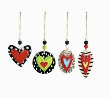 Demdaco HEART ORNAMENTS Tracy Peche 1004380047 Ceramic HEARTFELT HOME NeW MINT