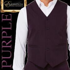 PURPLE MENS VEST MICROFIBER COSTUME WEDDING SCHOOL FORMAL MENSWEAR -Aus-