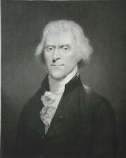 RARE EARLY-MID 19TH C ENGRAVING of TH JEFFERSON (AP) by W HOLL after A DESNOYER