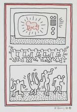 KEITH HARING HAND DRAWN & SIGNED * RADIANT BABY AND DANCING... * INK ON PAPER
