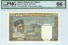Algeria, 100 Dinars, 1945, P-85, WWII PMG-66, Gem UNC