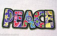 ÉCUSSON PATCH BRODÉ thermocollant * 10 x 4 cm * MOT PEACE PATCHWORK multicolore