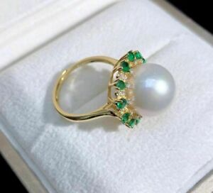 Gorgeous  AAA+ 11-10MM real natural white akoya round PEARL RING adjustable