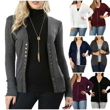 Womens V-Neck Long Sleeve Snap Button Sweater Cardigan with Ribbed Detail 1X-3X