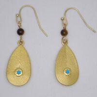 lauren jewelry gold plated hoop drop dangle teardrop blue enamel star earrings