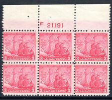 Sc# 736 3 Cent Maryland Tercentenary (1934) MNH PB/6 P# F21191 Top SCV $9.50
