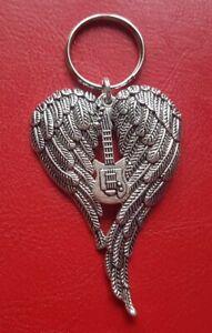 Handmade Guitar Angel Keyring Angel Wings Loved One Can Be Personalised