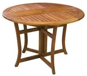Outdoor Table Eucalyptus  Round Folding Deck Patio Storage Space Saver New