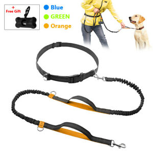 Reflective Hands Free Dog Leash Dual Handle Pet Bungee Leads for Running Walking