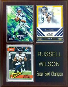 Russell Wilson Seattle Seahawks 3-Card 7x9 Plaque