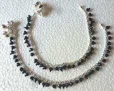 """Crystal Bridal 10"""" Payal Foot Anklet k Indian Silver Plated Cz Stone Chain Black"""