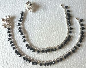 """Indian Silver Plated CZ Stone Chain Black Crystal Bridal 10"""" Payal Foot Anklet k"""