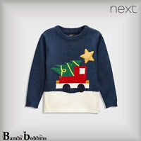 BNWT NEXT £15 Christmas Baby Boys Navy Light-Up Star Jumper 3-6-9-12 Months