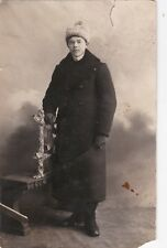 1910s Handsome young man winter fashion gay interest old Russian antique photo