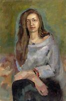 """Russischer Realist Expressionist Öl Leinwand """"Mädchen mit langen Haare"""" 60x40 cm"""