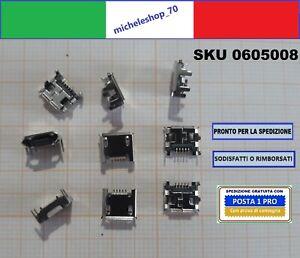 """connettore a saldare micro USB tipo """"B"""" femmina 4 fiss. verticali 5pin 180° SMT"""
