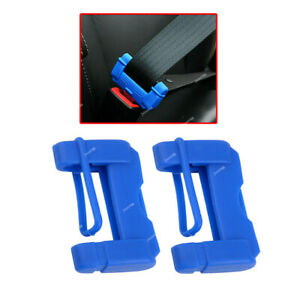 2x Blue Car Safety Seat Belt Buckle Clip Anti-Scratch Silicone Cover Accessories