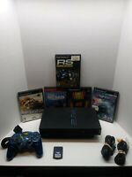 Sony PlayStation 2 PS2 Fat Black Game Console W/Cables + Controller + 5 games
