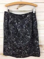 Ann Taylor Loft Gray/Black Floral Print Side Zip 2 Pocket Career Pencil Skirt. 6