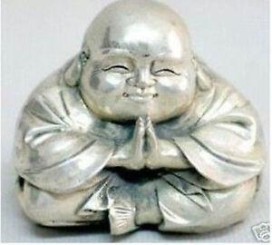 Wonderful Luck tibet Silver-gilt Buddha Pray Statue