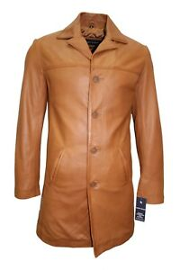 New Men's Classic Trench Coat Tan Italian Tailored Fit Real Nappa Leather Jacket