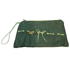 NEW Handmade Burlap Clutch Women's Handbag Green Wristlet, One-of-a-kind Bag