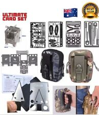 Large Multitool Survival Card Set Tactical Axe Fishing First Aid Escape Stove