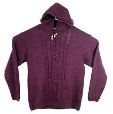Aran Sweater Market Ireland Plum Merino Wool Hooded Cable Knit Hoodie Size Small