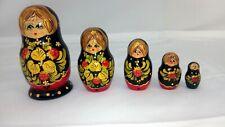 Handmade in Russia Nesting Dolls 5pc Black