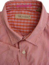 TED BAKER Shirt Mens 14.5 S Pink & Orange - Check SHORT SLEEVE NEW