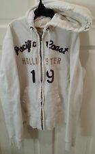Hollister - So Cal Zip Up White Hoodie - Heavily Distressed, Size Medium